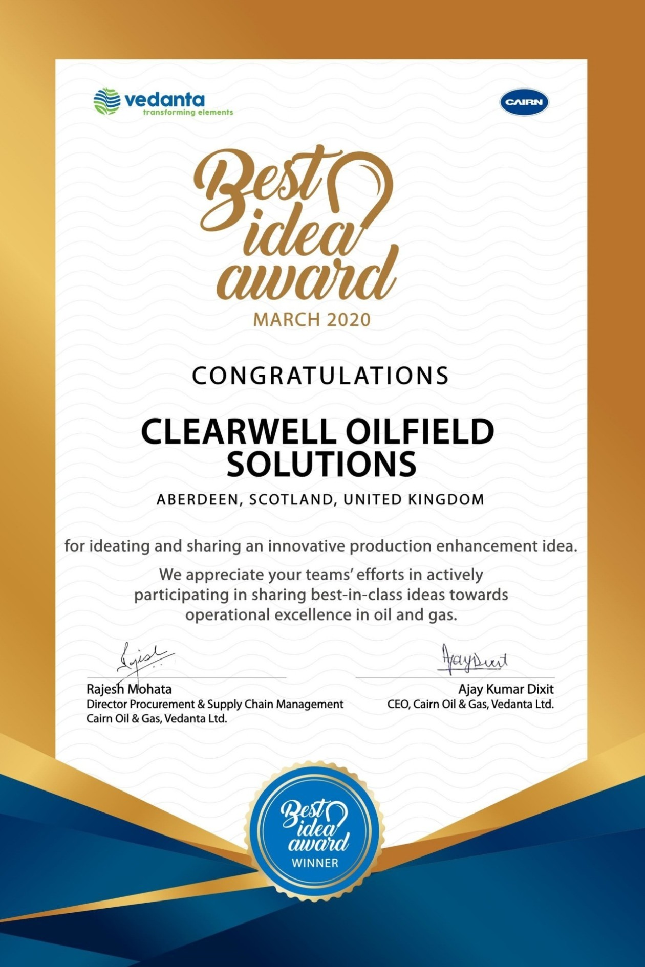 ClearWELL wins Cairn Oil and Gas 'Best Idea in Production Enhancement' Award