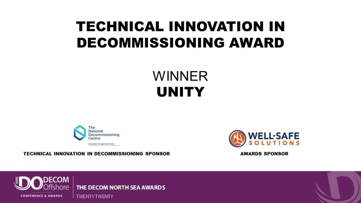 Unity scoops prestigious 'Technical Innovation in Decommissioning' award